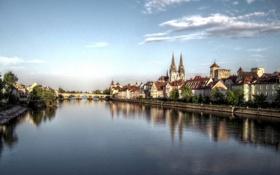 Обои река, Регенсбург, дома, фото, regensburg, мост, Германия