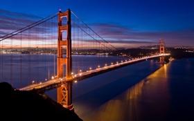 Картинка мост, огни, вечер, Золотые Ворота, США, Сан - Фрацыско