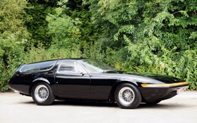 Картинка классика, Ferrari, Gtb 4, Shooting Brake, деревья, 365, 1975