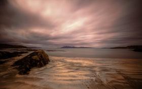 Картинка пляж, облака, тучи, камни, залив