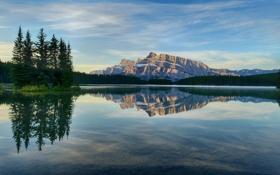 Картинка деревья, озеро, гора, оражение