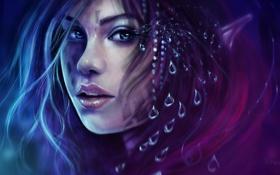 Картинка взгляд, вода, девушка, капли, лицо, ресницы, волосы