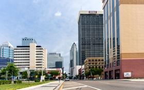 Обои город, голубой, здание, небоскреб, облако, Флорида, USA