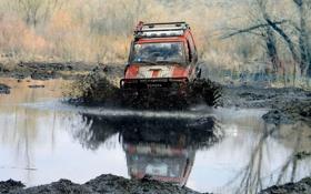 Обои болото, джип, внедорожник, jeep, 4x4, off-road, трофи