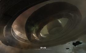Картинка космос, круги, корабли, станция, EVE Online
