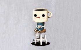 Картинка чаепитие, кружка, чудик, Kim Hana