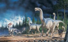 Картинка Картина, Art, Landscape, Dinosaurs, Динозавры