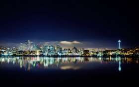 Обои ночь, city, город, Сиэтл, usa, Seattle