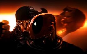 Обои голова, маска, art, Deadpool, Marvel Comics