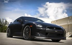 Обои чёрный, Nissan, GT-R, black, ниссан, передняя часть, 360 three sixty forged