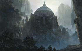 Обои замок, купол, скалы, здание, арт, горы, крепость