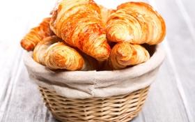 Обои breakfast, корзинка, croissant, круассаны, выпечка, завтрак