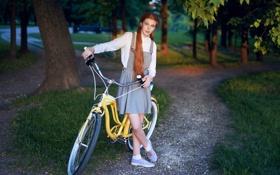 Обои девушка, велосипед, парк, рыжеволосая, Даша