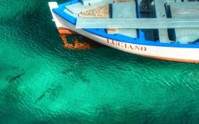 Обои море, вода, рыбы, надпись, лодка, баркас