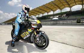 Обои мотоциклист, wallpaper, мотоспорт, обои, мотоцикл, Suzuki, шлем