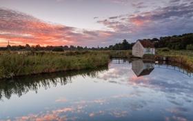 Картинка закат, озеро, дом, отражение, вечер