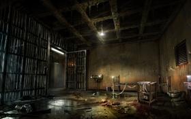 Обои свет, кровать, тюрьма, решетки, Alone in the Dark, один в темноте