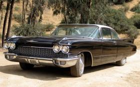 Картинка фон, чёрный, Cadillac, 1960, классика, Coupe, передок