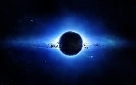 Картинка планета, спутник, spaceships, пояс астероидов