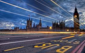 Картинка дорога, свет, ночь, город, огни, Англия, Лондон