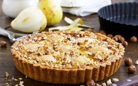 Обои орех, груша, выпечка, walnut, pear, pastries, cake pear