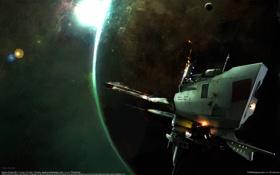 Картинка космос, корабль, планета, Space Scene 06, Hugh Sicotte