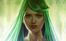 Обои взгляд, девушка, лицо, фон, арт, зеленые волосы