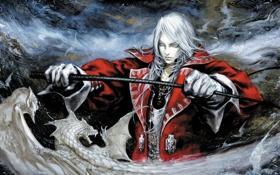 Обои рисунок, арт, вампир, fantasy, граф, блондин, белые драконы