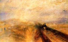 Обои мост, река, англия, поезд, британия, темза, импрессионизм