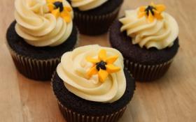Обои сливки, цветочки, десерт, кексы