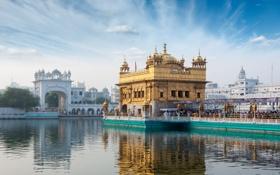 Обои город, озеро, Индия, арка