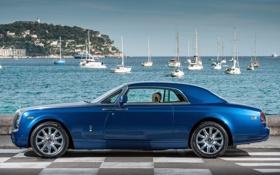 Обои небо, вода, синий, фон, купе, яхты, Rolls-Royce