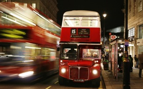 Картинка дорога, city, город, lights, люди, Англия, Лондон