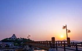 Обои небо, солнце, мост, восход, замок, рассвет, утро