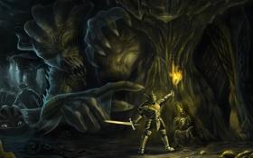 Обои человек, рука, воин, арт, монстры, факел, пещера