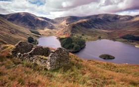 Картинка пейзаж, горы, дом, озеро