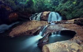 Обои река, камни, водопад, джунгли