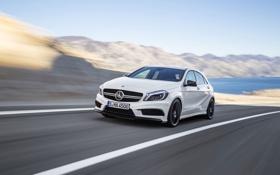 Обои Mercedes-Benz, Белый, AMG, Передок, A45, В Движение