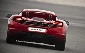 Обои McLaren, red, MP4-12C, задняя часть