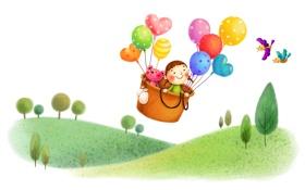 Обои полет, корзина, воздушные шары