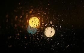 Обои капли, фон, круги, цвет, размытость