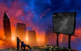 Обои art, дома небоскребы, будущее, постапокалипсис, alexiuss, Romantically Apocalyptic, zee captain