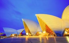 Картинка небо, облака, свет, вечер, Австралия, театр, Сидней