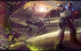 Обои солдат, Gears of War, marcus fenix, Gear soldier, Wretches