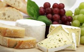 Обои сыр, хлеб, виноград, доска