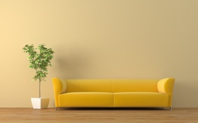 Обои диван, растение, кадка