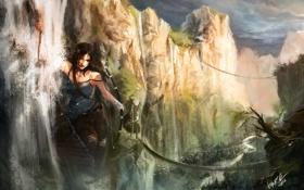 Обои небо, вода, девушка, мост, скалы, водопад, веревка