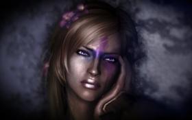 Картинка Skyrim, девушка, Скайрим, волосы, лицо, рука, The Elder Scrolls V
