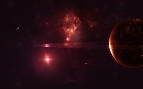Картинка планета, свет, раскаленная, красный