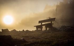 Картинка ночь, туман, скамья